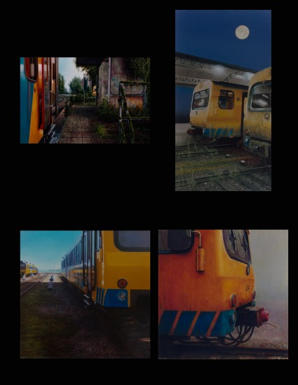 Four paintings of trains