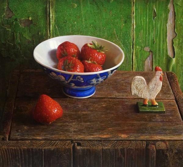Aardbeien en haantje