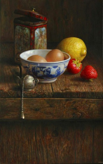 Composition with bowl of eggs