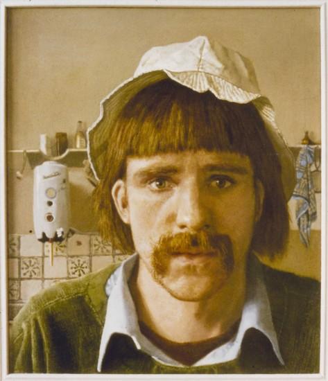 Self-portrait in kitchen 1979