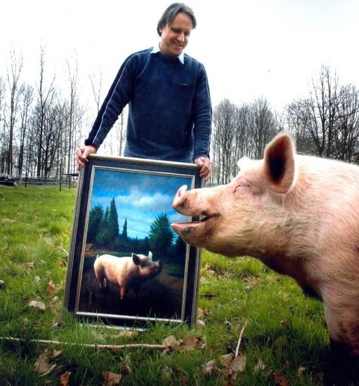 Foto: Herman en schilderij en model Toon.