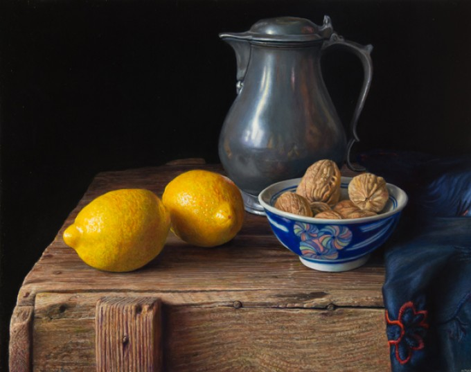 Lemons and pewter flagon