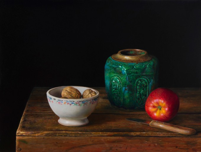 Ginger jar and apple