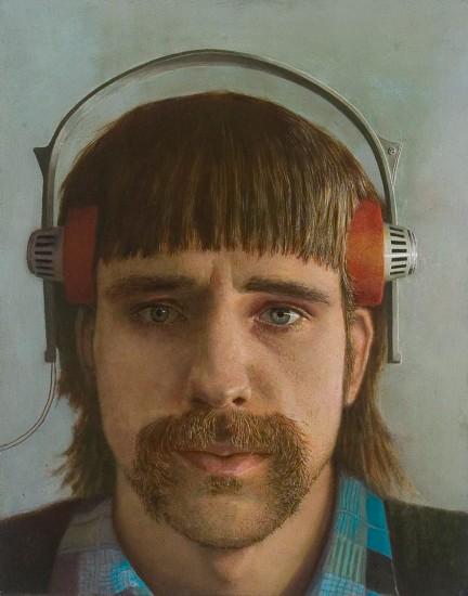 Zelfportret met hoofdtefelefoon