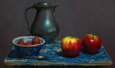 Pewter with apples