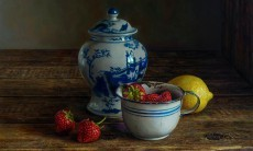 Still life with strawberries and lemon