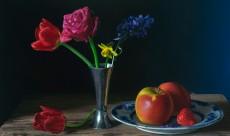 Flowers in blue room