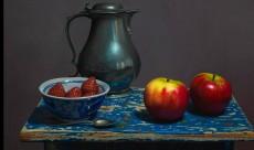 Tinnen kan met appels