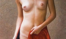 Nude draped in red